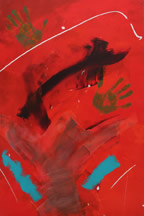 Two Hands #2, an abstract painting inspired by Mother Teresa. Painting copyright Mark Dahle 1996.