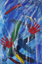Two Hands #3, an abstract painting inspired by Mother Teresa. Painting copyright Mark Dahle 1996.
